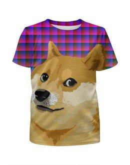 """Футболка с полной запечаткой для девочек """"DOGE DOGE"""" - арт, юмор, мем, стиль, doge"""