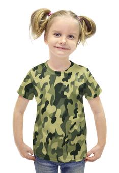 """Футболка с полной запечаткой для девочек """"ХАКИ ЗАЩИТА ДЛЯ ВОЕННЫХ ДЛЯ СЛУЖАЩИХ"""" - хаки, защита, военный, служба на границе"""