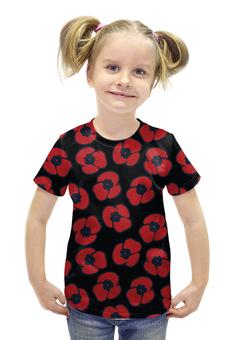 """Футболка с полной запечаткой для девочек """"красные маки"""" - авторские майки, цветок, мак"""