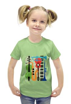 """Футболка с полной запечаткой для девочек """"Музыкальные инструменты"""" - музыка, гитара, скрипка, инструменты, саксафон"""