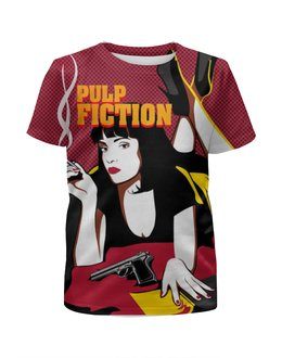 """Футболка с полной запечаткой для девочек """"Pulp Fiction"""" - tarantino, тарантино, криминальное чтиво, pulp fiction, арт дизайн"""