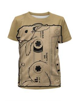 """Футболка с полной запечаткой для девочек """"Rabbit Cool MIX / Крутой Кроличий МИКС"""" - музыка, арт, животные, заяц, кролик"""