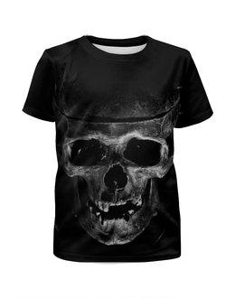 """Футболка с полной запечаткой для девочек """"Skull"""" - череп, кости, тьма"""