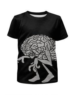 """Футболка с полной запечаткой для девочек """"BRAIN / Мозг"""" - череп, арт, мозг, зомби, кости"""
