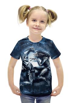 """Футболка с полной запечаткой для девочек """"Чужой против Хищника / Alien vs Predator"""" - хищник, рисунок, кино, чужой"""