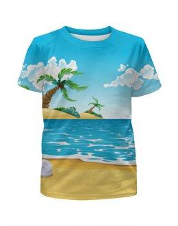 """Футболка с полной запечаткой для девочек """"Летний отдых"""" - лето, море, пляж, пальмы"""