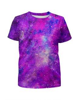 """Футболка с полной запечаткой для девочек """"Космос (розовый)"""" - space, stars, космос, космический, cosmos"""