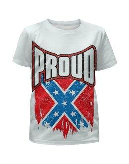 """Футболка с полной запечаткой для девочек """"Флаг Конфедерации США"""" - америка, флаг, сша, флаг конфедерации, proud"""
