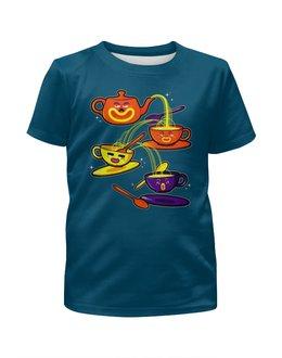 """Футболка с полной запечаткой для девочек """"Tea time """" - чашки, чаепитие"""