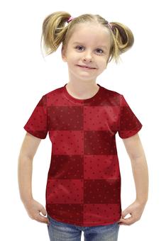 """Футболка с полной запечаткой для девочек """"Красный геометрический узор"""" - красный, горох, прямоугольник, оттенок"""