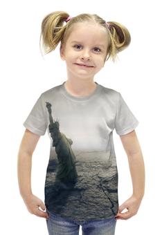 """Футболка с полной запечаткой для девочек """"Падение мира"""" - конец света, апокалипсис, статуя свободы"""
