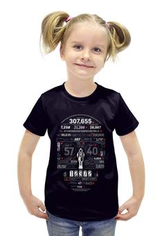 """Футболка с полной запечаткой для девочек """"Абстракция"""" - череп, пистолет, цифры"""