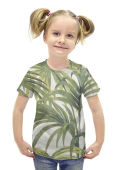 """Футболка с полной запечаткой для девочек """"Пальмы"""" - винтаж, природа, иллюстрация, тропики, пальмы"""