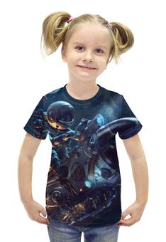 """Футболка с полной запечаткой для девочек """"Космонавт на ракете"""" - арт, космос, ракета, космонавт"""