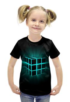 """Футболка с полной запечаткой для девочек """"Кубик Рубика"""" - арт, кубик рубика"""