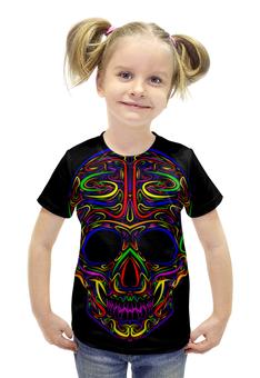 """Футболка с полной запечаткой для девочек """"Skull Art"""" - skull, череп, artwork, цветной череп, арт дизайн"""
