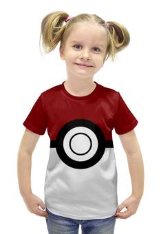 """Футболка с полной запечаткой для девочек """"Покебол. Покемоны"""" - покемон, покемоны, покебол, pokemon go, pokeball"""