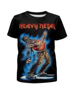 """Футболка с полной запечаткой для девочек """"Heavy Metal"""" - музыка, skull, череп, гитара, heavy metal"""