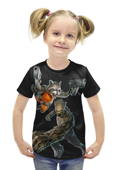 """Футболка с полной запечаткой для девочек """"Rocket Raccoon and Groot/Енот Ракета и Грут"""" - marvel, енот, ракета, rocket, groot"""
