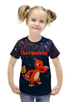 "Футболка с полной запечаткой для девочек ""Покемон Чармелеон"" - pokemon, покемон, чармелеон, charmeleon"