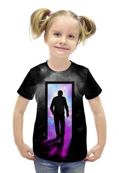 """Футболка с полной запечаткой для девочек """"Космическая дверь"""" - космос, абстракция, галактика, пространство"""