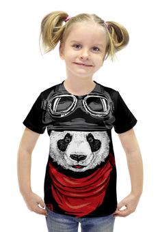 """Футболка с полной запечаткой для девочек """"Панда"""" - панда, panda, пилот"""