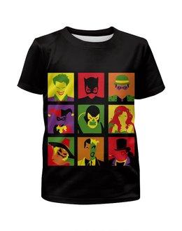 """Футболка с полной запечаткой для девочек """"Враги Бэтмена"""" - джокер, бэтмен, харли квинн, плющ"""