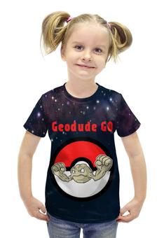 """Футболка с полной запечаткой для девочек """"Покемон Джеодуд """" - pokemon, покемон, джеодуд, geodude, каменный"""
