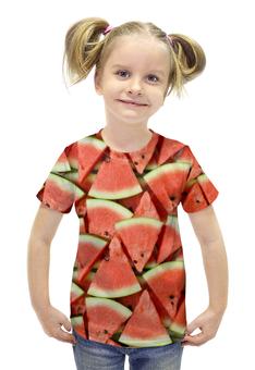 """Футболка с полной запечаткой для девочек """"WATERMELON"""" - еда, фрукты, ягоды, арбуз, watermelon"""