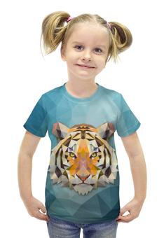 """Футболка с полной запечаткой для девочек """"Полигональный Тигр"""" - тигр, звери, геометрия, полигоны"""
