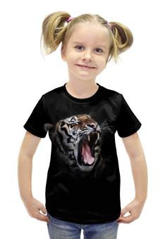 """Футболка с полной запечаткой для девочек """"Ревущий тигр"""" - тигр кошка животные природа"""