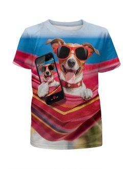 """Футболка с полной запечаткой для девочек """"Собака"""" - лето, солнце, собака, телефон, гамак"""