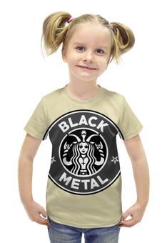 "Футболка с полной запечаткой для девочек ""Starbucks / Black Metal"" - black metal, coffee, рок музыка, starbucks, блэк метал"