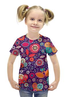 """Футболка с полной запечаткой для девочек """"Цветочная поляна"""" - красиво, цветы, ярко, природа, цветочная поляна"""