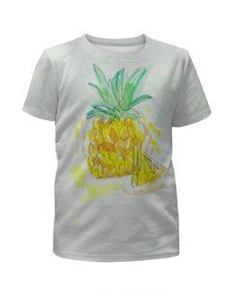 """Футболка с полной запечаткой для девочек """"Ананас"""" - сочный, лето, фрукт, ананас"""