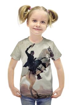 """Футболка с полной запечаткой для девочек """"Одинокий Рэйнджер"""" - лошадь, приключения, конь, lone ranger"""