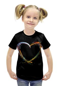 """Футболка с полной запечаткой для девочек """"Любовь"""" - сердце, любовь, арт"""