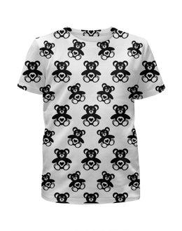 """Футболка с полной запечаткой для девочек """"Черно-белые мишки"""" - 14 февраля, сердечки, черно-белые, мишки"""