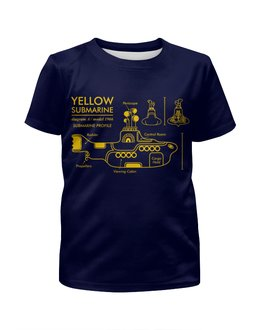 """Футболка с полной запечаткой для девочек """"Yellow Submarine"""" - the beatles, yellow submarine, чертёж, жёлтая подводная лодка, жёлтая субмаритна"""