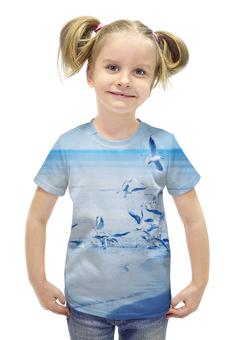 """Футболка с полной запечаткой для девочек """"Чайки в Юрмале"""" - море, чайки"""