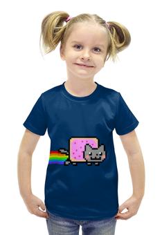 """Футболка с полной запечаткой для девочек """"Nyan Cat"""" - cat, nyan cat, nyan, нян, кот нян"""