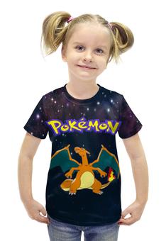 """Футболка с полной запечаткой для девочек """"Покемон Чаризард"""" - pokemon, покемон, charizard, чаризард"""