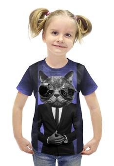 """Футболка с полной запечаткой для девочек """"Усач в очках"""" - кот, костюм"""
