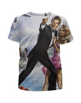 """Футболка с полной запечаткой для девочек """"Джеймс Бонд """" - 007, james bond, агент 007, джеймс бонд"""