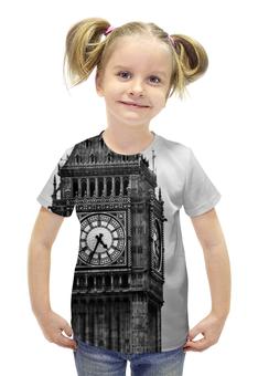 """Футболка с полной запечаткой для девочек """"Туманный альбион"""" - лондон, англия, часы, бигбэн, альбион"""