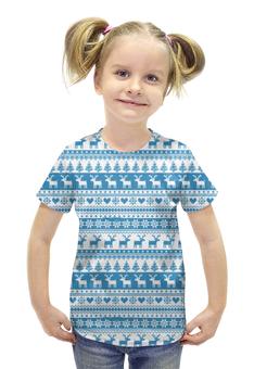 """Футболка с полной запечаткой для девочек """"Свитер с оленями """" - узор, орнамент, олени, свитер с оленями"""