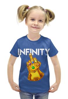 """Футболка с полной запечаткой для девочек """"Infinity"""" - рука, жест, кристалы"""
