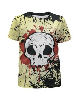 "Футболка с полной запечаткой для девочек ""Grunge Skull"" - skull, череп, гранж, хэллоуин, хардкор"