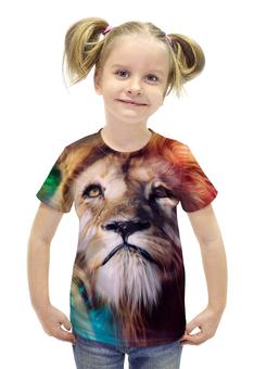 """Футболка с полной запечаткой для девочек """"Царь зверей"""" - лев, краски, царь зверей, грива"""
