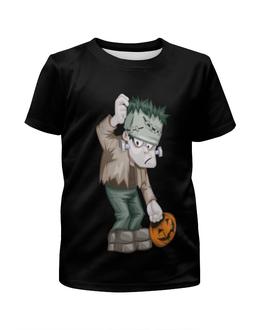 """Футболка с полной запечаткой для девочек """"Чудовище Франкенштейна"""" - хэллоуин, зомби, монстр, тыква, франкенштейн"""